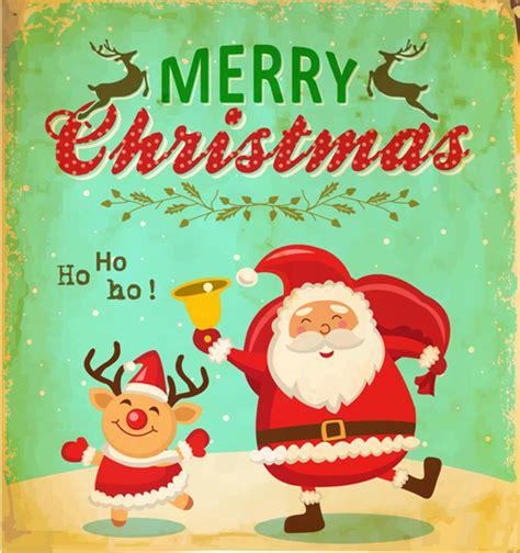 printable santa poster santa with christmas poster vintage vectors 02 vector