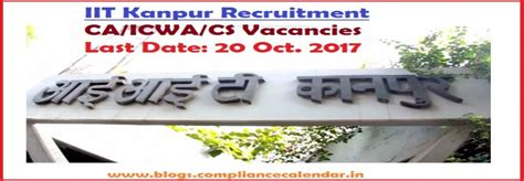 Iit Kanpur Mba Average Salary by Iit Kanpur Recruitment Ca Icwa Cs Vacancies Last Date