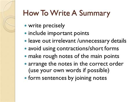 summary writing for spm 1119 2 ppt