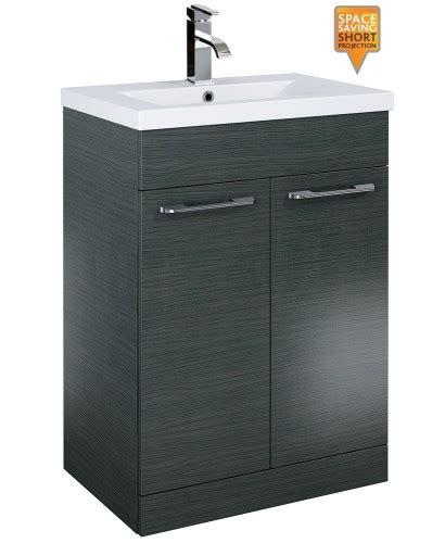 Slimline Bathroom Vanity Units Porto 60cm Vanity Unit 2 Door Grey And Basin