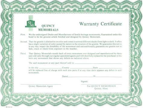 Certificate Template warranty certificate by quincy memorials 187 quincy memorials