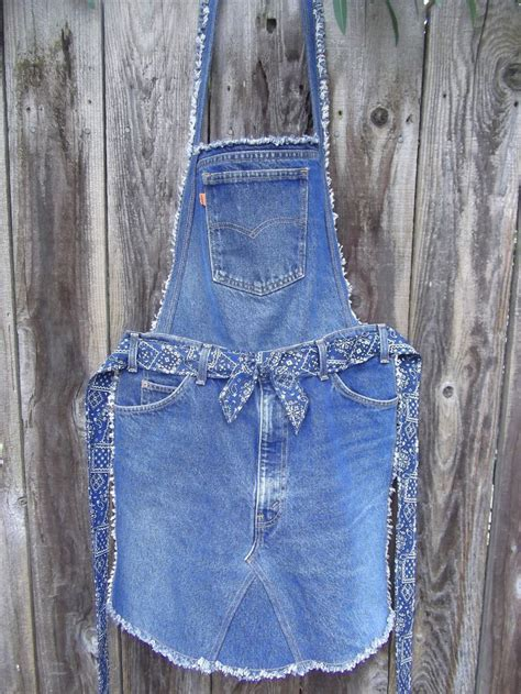 pattern for blue jean apron recycled denim quot overall quot apron garden pinterest