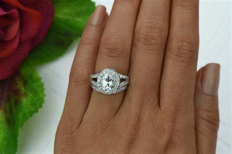 3 ctw split shank wedding set oval engagement ring halo