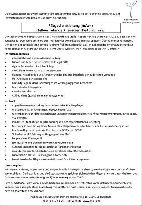 Bewerbung Fsj Zeitpunkt Stellenangebot Pflegedienstleitung W M Stellvertretende Pflegedienstleitung W M In