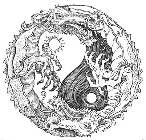 yin yang coloring pages sun and moon dragon yin yang coloring pages colouring
