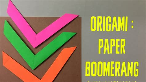 How To Make A Boomerang Paper - how to make an origami boomerang easy paper toys