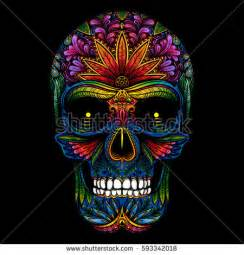 colorful skeleton vector color skull on black stock vector 593342018