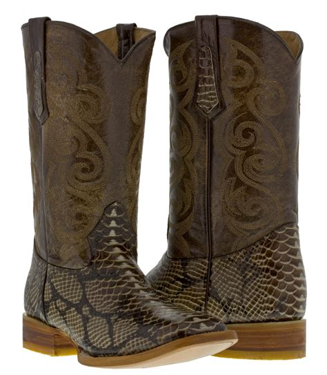 Sepatu Country Boots Casual Brown Originla Handmade mens brown python snake skin design leather western cowboy boots rodeo ebay