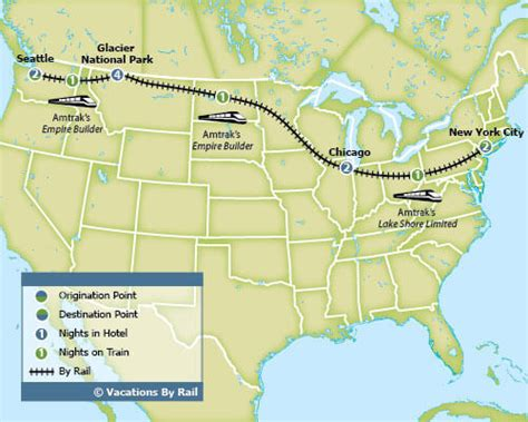 seattle new york map america coast to coast with glacier national park
