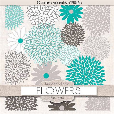 grey wallpaper with teal flowers items similar to vector clipart flower cliparts dahlia