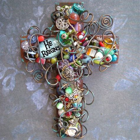 6 inch beaded cross quot he reigns quot thank you lord