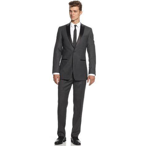 Slim Fit calvin klein grey solid tuxedo slim fit in gray for charcoal lyst