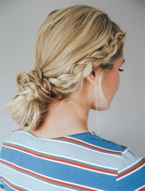 easy hairstyles you can do in 5 minutes double dutch braid bun easy hairstyles you can do in 5