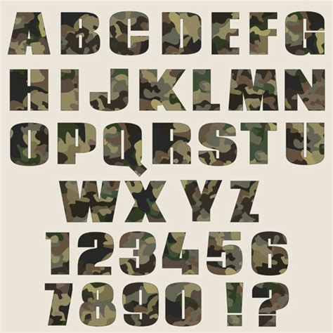 camouflage alphabets fonts vector 03 vector font free