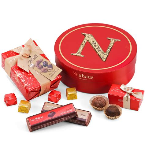 neuhaus round gift box with christmas chocolates
