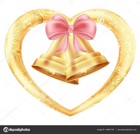 Wedding Bells In by Wedding Bells With Hearts And A Pink Bow In A Gold Frame