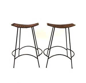 2 vintage mini counter bar wrought iron stool rattan seat