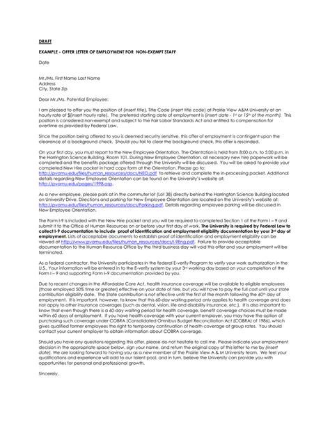 draft offer letter employment exempt