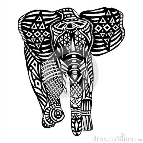 black and white elephant pattern black elephant with white patterns on body stock vector