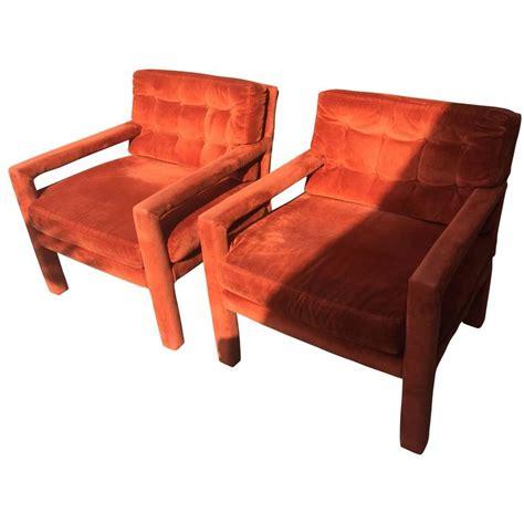 parsons armchair pair of milo baughman tufted mid century modern parsons