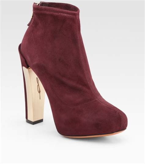 b brian atwood edeline stretch suede ankle boots in gray