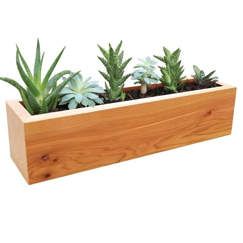 gronomics 4 in x 4 in x 16 in succulent planter wood