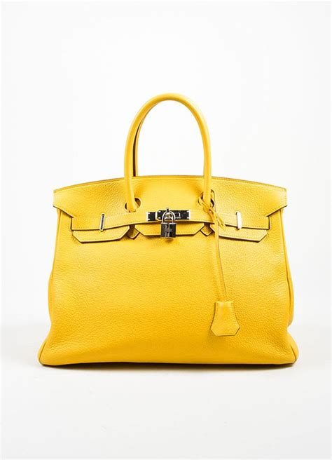 Hermes Bag Kayu Yellow yellow quot soleil quot hermes shw clemence leather 35cm quot birkin quot bag leather bags and yellow