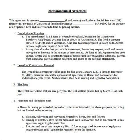 Memorandum Agreement Template Sle Memorandum Of Lease Agreement 9 Free Documents In Pdf Word