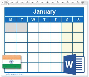 calendar  india holidays ms word