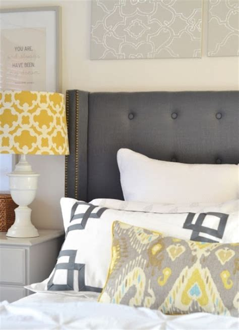 Yellow And Grey Themed Bedroom This Is Our Bednest Darlo Bedhead In Jarvis Black Fabric
