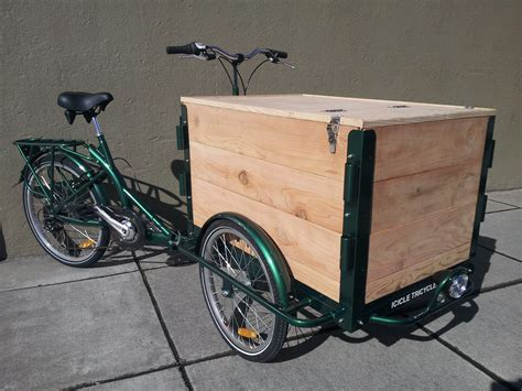 box bikes built wood panel vending tricycles