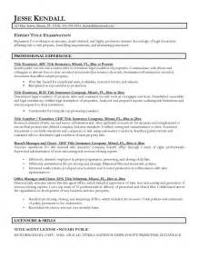 Resume Titles Sles by Exle Title Examiner Resume Free Sle