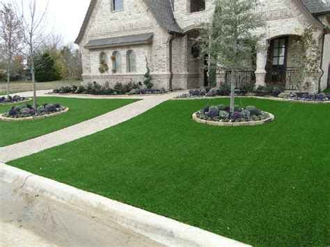 turf front yard southlake front yard contemporary landscape dallas