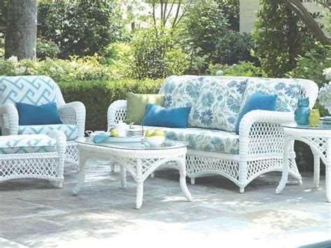 Amazing White Set Floral Blue Cushion Resin Wicker Outdoor