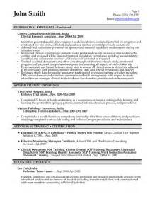 clinical research associate resume sle research scientist resume sle template professional