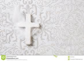 mourning white ceramic cross on grey ornament background