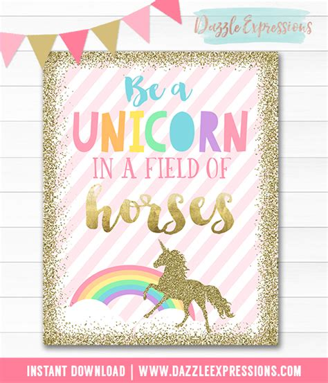 printable unicorn signs printable rainbow and gold glitter unicorn birthday party