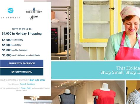 Small Sweepstakes - shop small for holiday sweepstakes