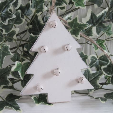 shabby rustic country chic cream wood bells christmas tree