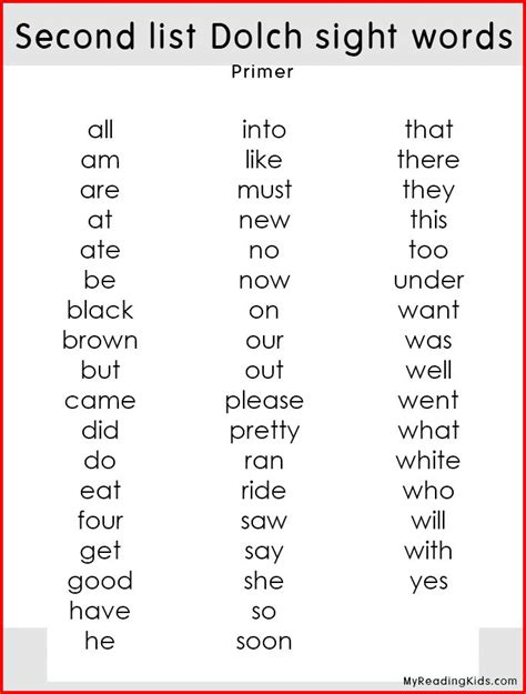 Pdf Bringing Words Second by Dolch Sight Words Lists Second List Dolch Sight Words For