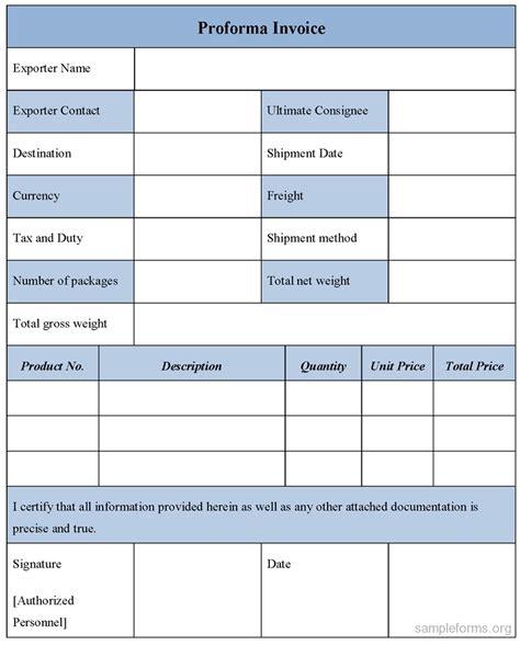 proforma invoice templates sample proforma invoice proforma invoice