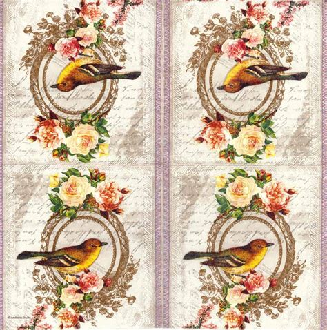 decoupage paper napkins of vintage bird and roses cocktail