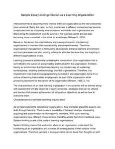 Learning Essay by Sle Essay On Organization As A Learning Organization