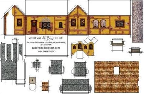printable tudor house template medieval style house paper model by papermau download