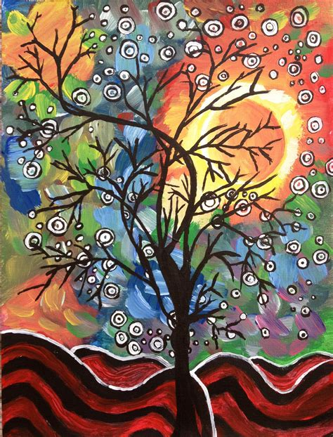 acrylic painting sale neha shah artwork a tree in the evening original