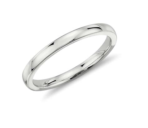low dome comfort fit wedding ring in 14k white gold 2mm