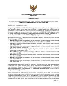 PRESS RELEASE 14 FEBRUARI 2020 Update Perkembangan Corona