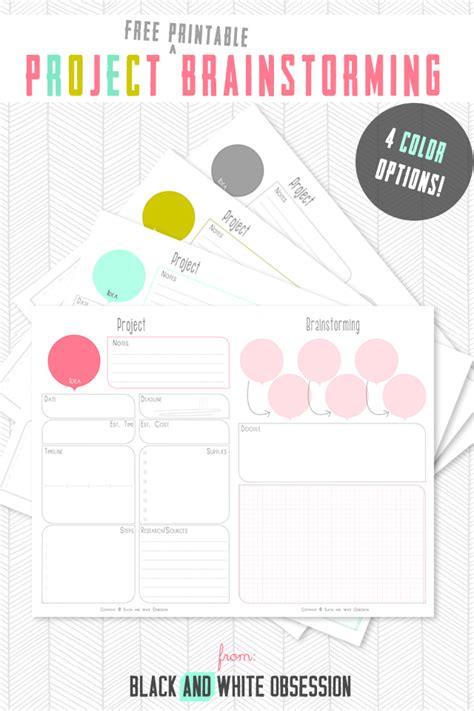 Free Projects - free project brainstorming printable the happier