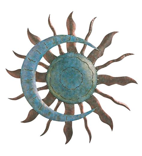 recycled metal moon and sun wall art in metal garden wall art