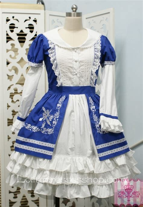 White Sweet S M L Dress 30610 Cheap White And Blue Cotton Cross Embroidery Sweet